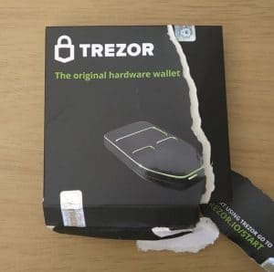 Trezor packaging which has been ripped apart
