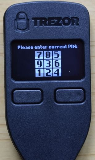 Trezor One PIN code screen