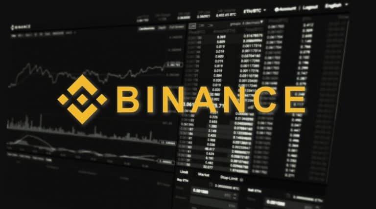 Binance logo over their trading interface