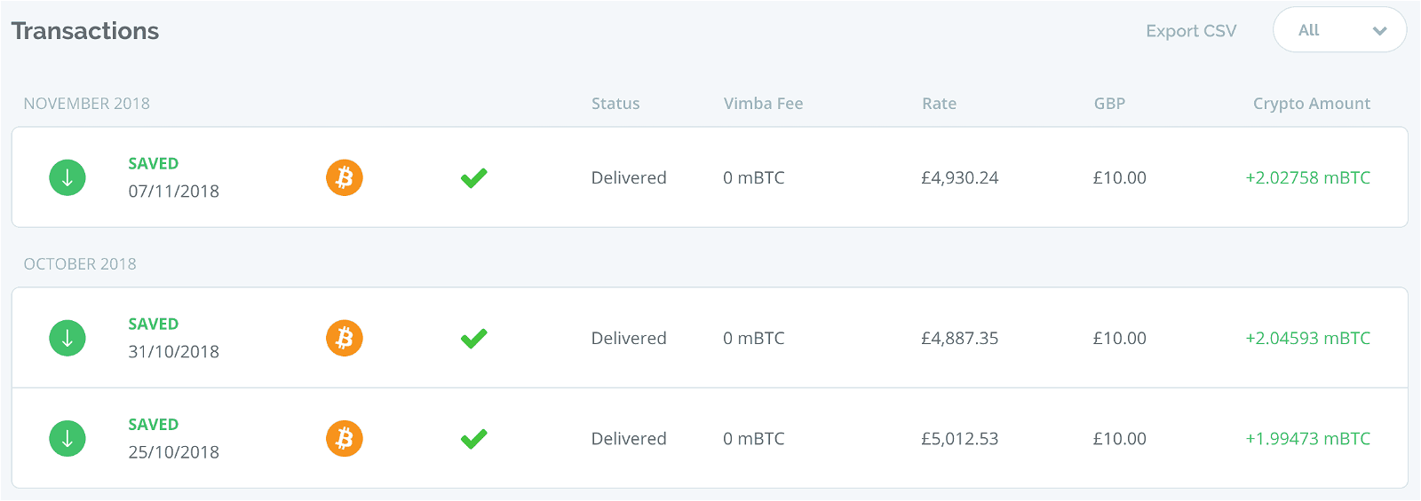 Transactions page on Vimba.co