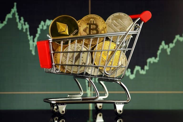 A trolley full of cryptocurrencies