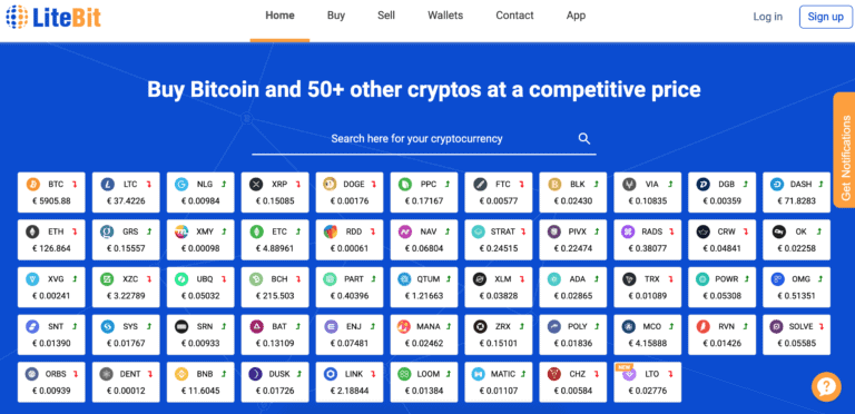 Cryptocurrencies supported by LiteBit
